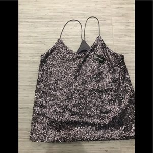 Express Purple and Silver Sequined Tank Top